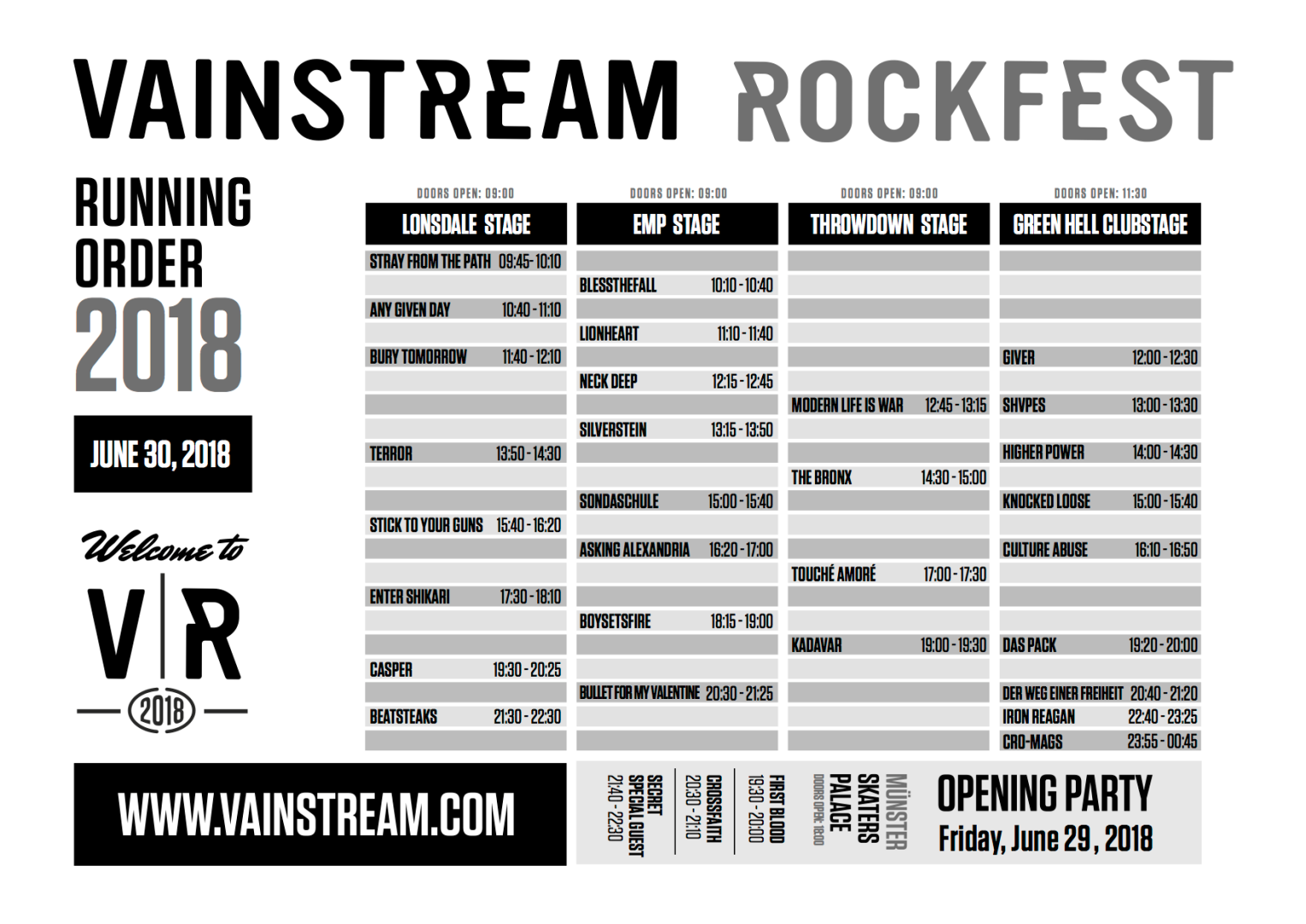 Vainstream Running Order